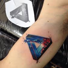 infinite l tattoo galactic penrose triangle tattoo on the right inner