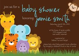 example jungle plus animal print baby shower invitation wording