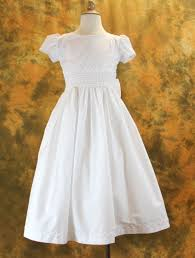 first communion dress cotton blend with smocked waist from