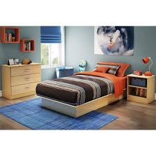 twin size platform bed frame in maple wood finish