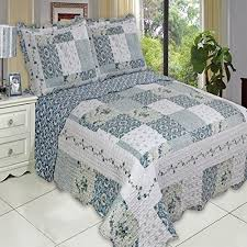 King Size Quilt Coverlet Buy Country Cottage Blue Floral Patchwork Quilt Coverlet Set King