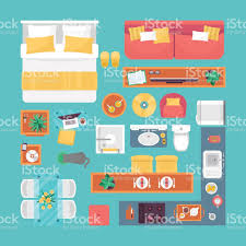 furniture top view set for interior design isolated vector stock