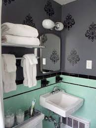 grey bathroom ideas with murals and mint green and black porcelain