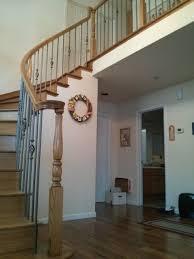 union city curved handrails u0026 wood treads w round iron balusters