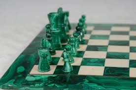 midcentury malachite and marble chess set game board and pieces