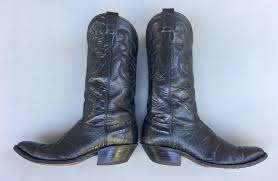 nocona lizard black leather western cowboy boots style 1501 mens