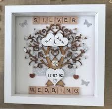 25 wedding anniversary gifts personalised handmade silver 25th wedding anniversary tree keepsake