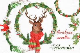 christmas deer watercolor christmas deer clipart illustrations creative market