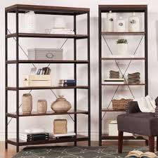 Rustic Book Shelves by Tribecca Home Somme Rustic Metal Frame 6 Tier Bookshelf Media