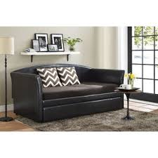 daybed with trundle black stratus twin and faux leather walmart