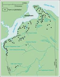 Jamestown Virginia Map The Paces Pioneers At Jamestown And Points West First