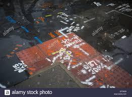 utilities spray paint markings on the ground creating a weird