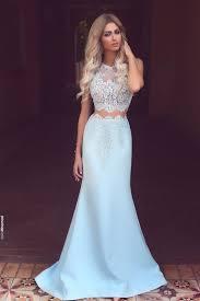 mermaid prom dress ball gown beautiful blue lace chiffon long