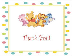 thank you card for baby shower the baby pooh and friends baby shower thank you cards