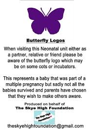 purple butterfly stickers help nicu parents with infant loss