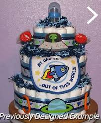 baby boy diaper cakes spaceship diaper cake