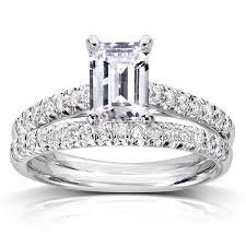 bridal sets rings emerald cut diamond bridal set 1 1 3 carat ctw in 14k white gold