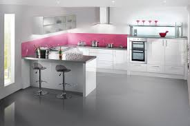 Glossy White Kitchen Cabinets Oyster Gloss Kitchen With Beech Chopping Board For The Home