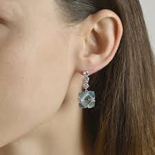 grande earrings blue topaz and white sapphire pc earrings grande paolo