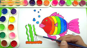 draw and color rainbow fish coloring page and learn colors for