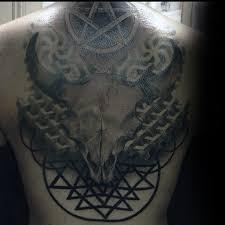 guys torso awesome 3d pentagram and horned deer tattoo 3d deer