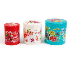 Walmart Kitchen Canister Sets The Pioneer Garden Meadow 3 Tin Canister Set Walmart