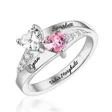 engraved sterling rings images Engraved double heart birthstone ring sterling silver jpg