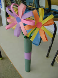 oversized construction paper flowers we made in pre k for