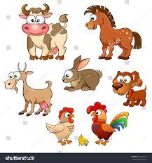 set cute cartoon farm animals horse stock vector 342433550