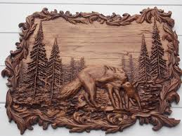 animal wood carving wolf wall wall hanging wolf wood
