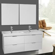 47 Bathroom Vanity 47 Inch Ash White Wall Mounted Bathroom Vanity Set Vanity Mirror