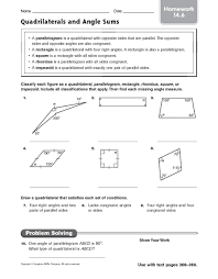 quadrilaterals and angle sums homework 14 6 4th 7th grade