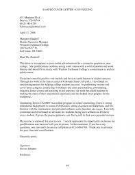 sample cover letter for counselor awesome collection of sample