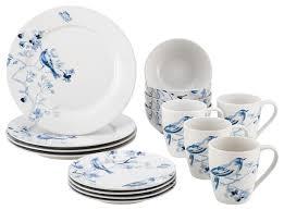 paula deen dinnerware indigo blossom 16 stoneware dinnerware