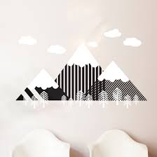 Vinyl Wall Stickers Custom Modern Geometric Mountain And Forrest Scene Wall Decal Custom
