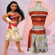 Mother Daughter Halloween Costume Fashion Moana Cosplay Clothing Sets Women Girls