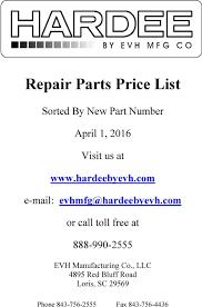 repair parts price list pdf