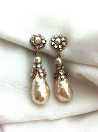 vintage earrings 1940 s signed miriam haskell vintage pearl and rhinestone drop