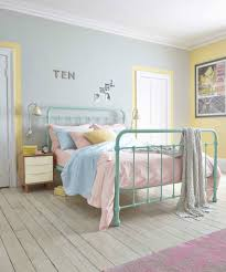 sage green metal bed and white wooden floor for nice bedroom ideas