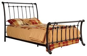 twist design brushed bronze full size metal bed frame