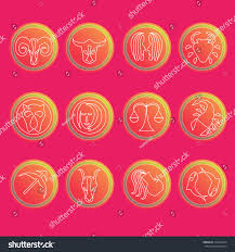 zodiac signs flat thin set simple stock vector 319262534