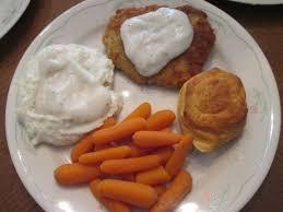 chicken fried cubed pork steak w mashed potatoes white gravy