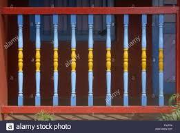 wooden railing of old bungalow at mahabaleshwar satara maharashtra