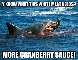 Funny Shark Meme - y know what this white meat needs more cranberry sauce