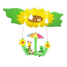 Kinderzimmer Schaukel Led Sonnenblume Mit Schaukel Biene Und Frosch 4er Deckenlampe