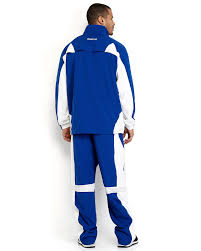Warm Blue Color Reebok Royal Blue White Color Block Basketball Warm Up Suit In
