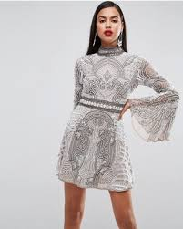 embellished dress shopping sales on asos carpet embellished fluted sleeve
