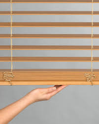 everwood wood blinds opened with literise cordless touch system