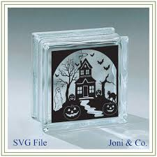 halloween glass block svg file haunted house svg halloween
