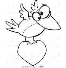 vector cartoon bird flying love heart coloring